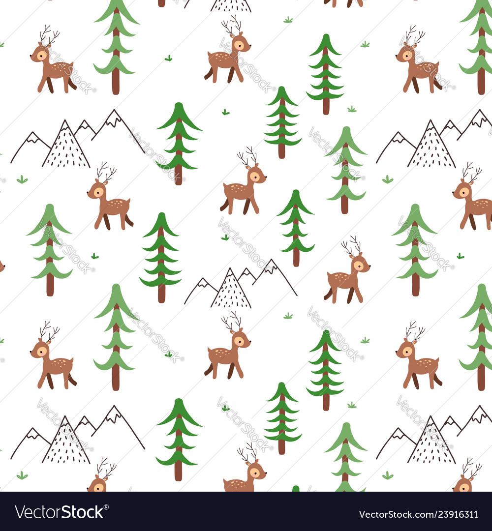 Deer doodle pattern