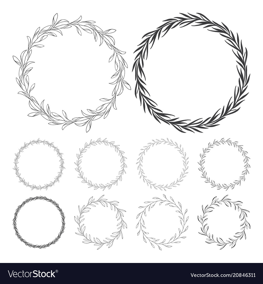 Hand drawn floral wreath clip art round frame wit