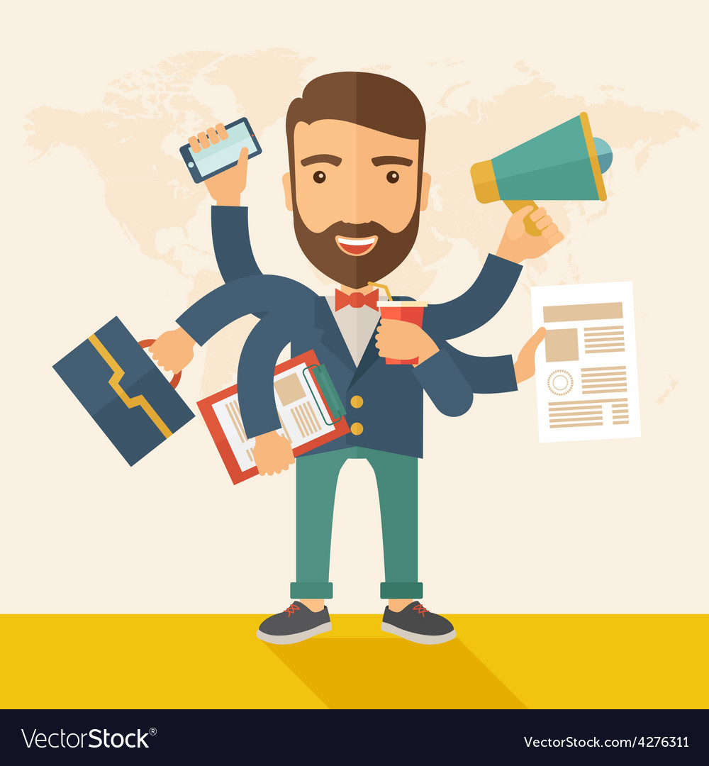 Man doing multitasking vector image