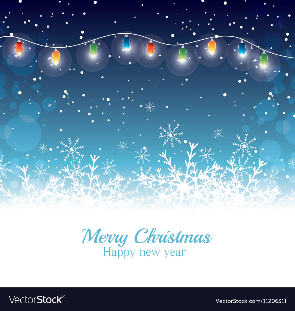 Merry christmas happy new year card garland lights