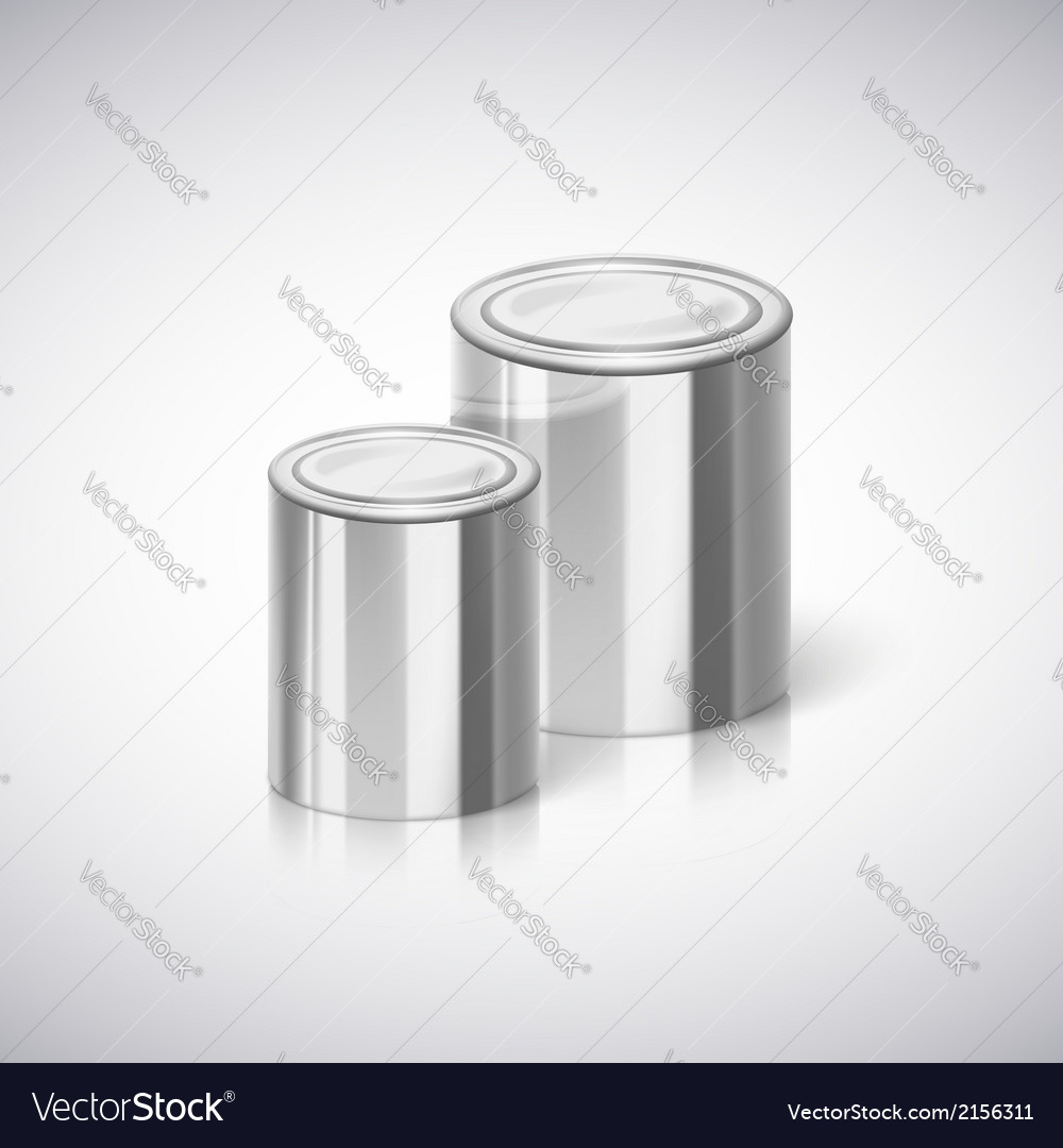 Metal cans with reflection and shadow vector image