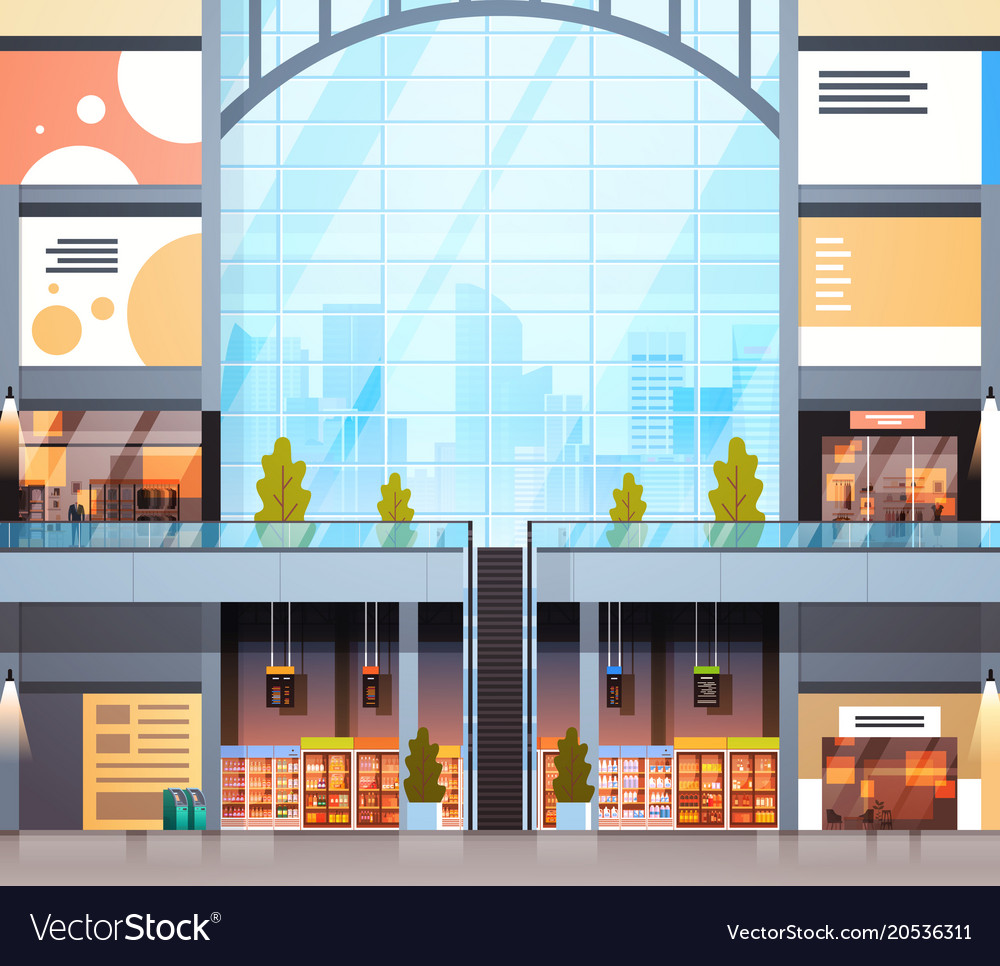 Modern Retail Store Interior Shopping Mall With No Vector Image