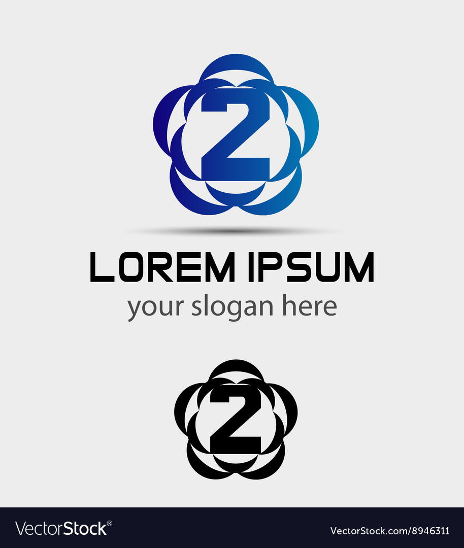 Number three 2 logo symbol design template element vector image