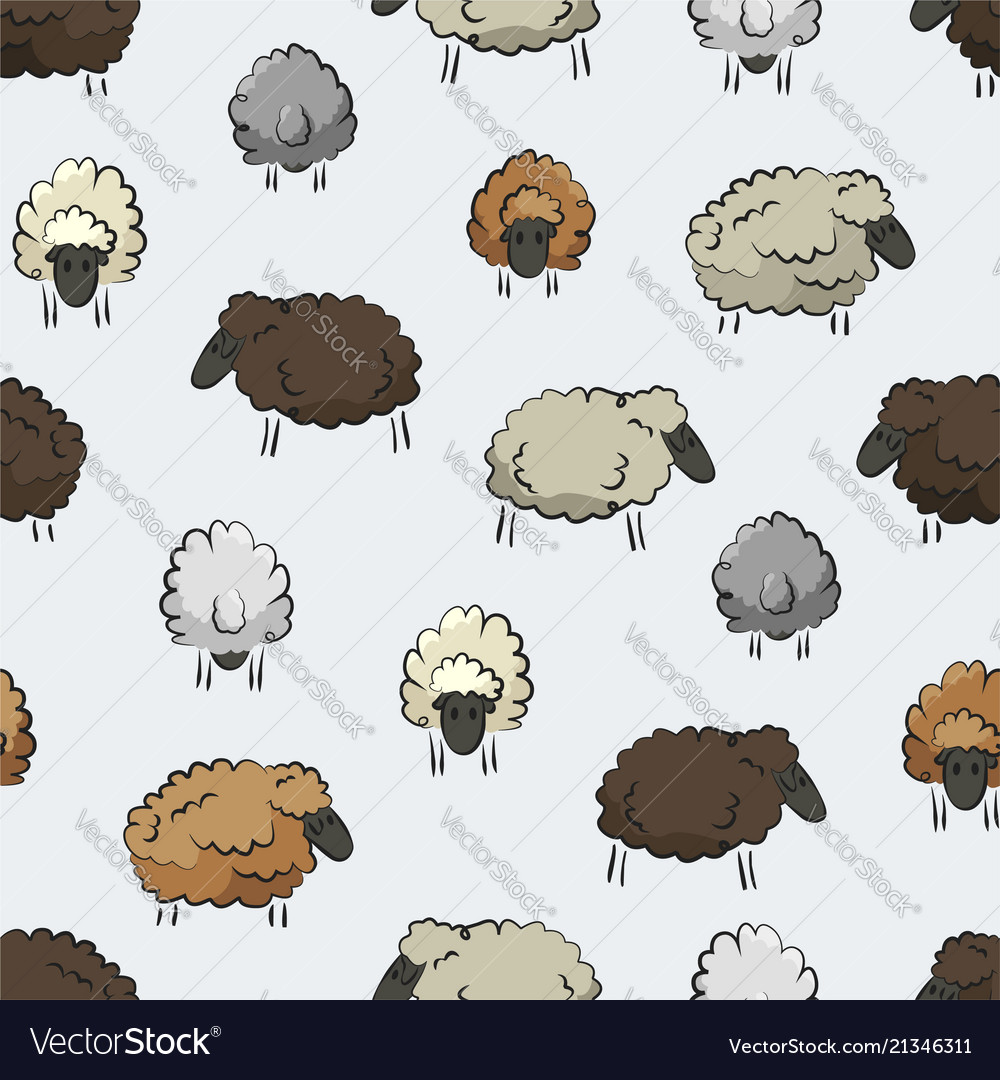 Seamless Stylized Sheep Herd Print Royalty Free Vector Image