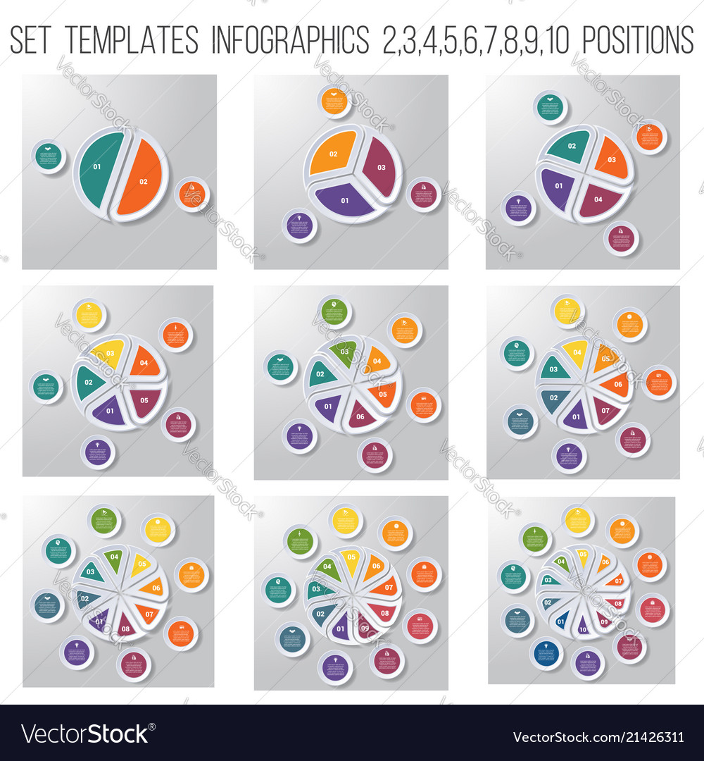 Set 9 templates pie chart diagram infographics