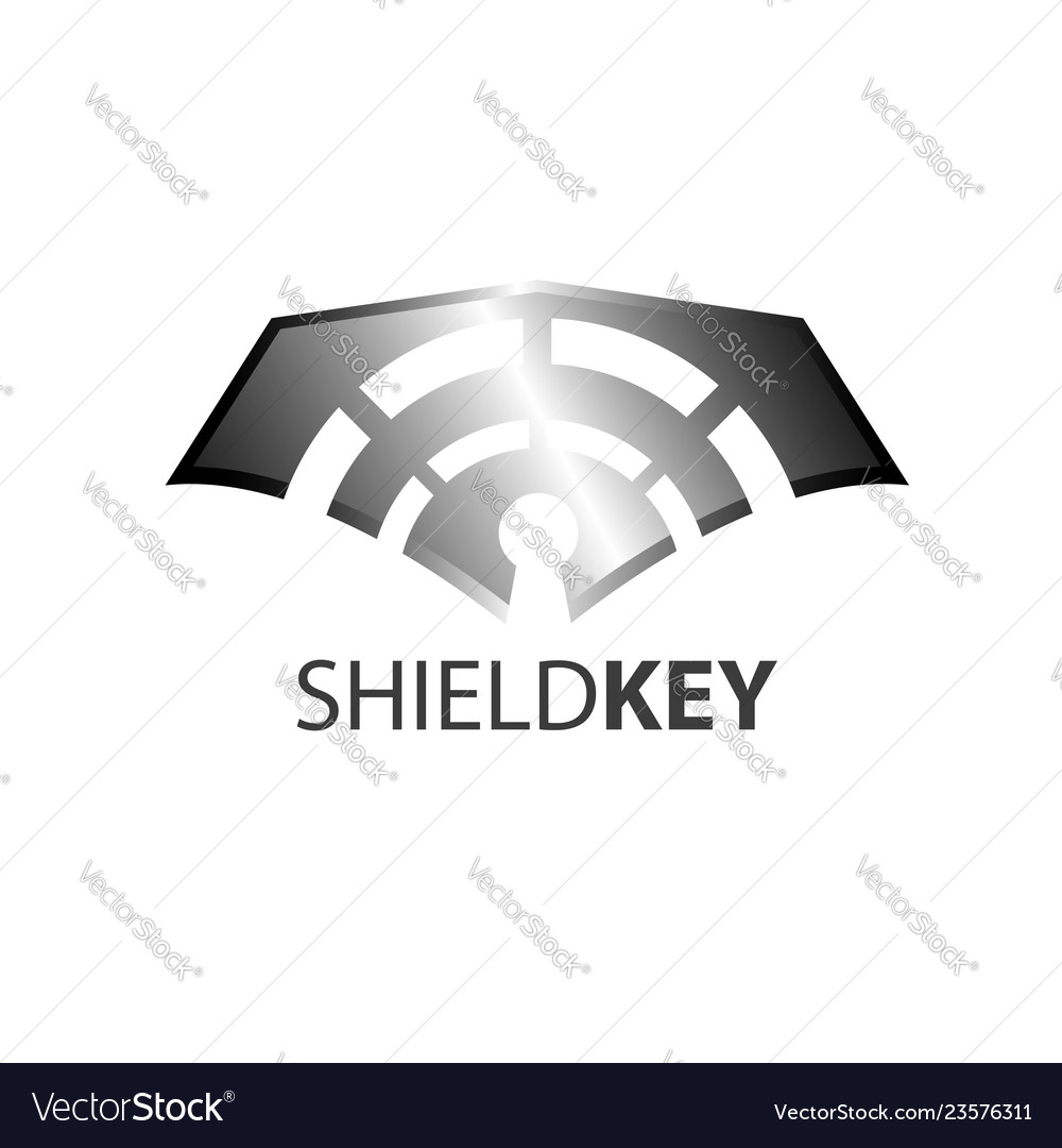 Shield key logo concept design symbol graphic