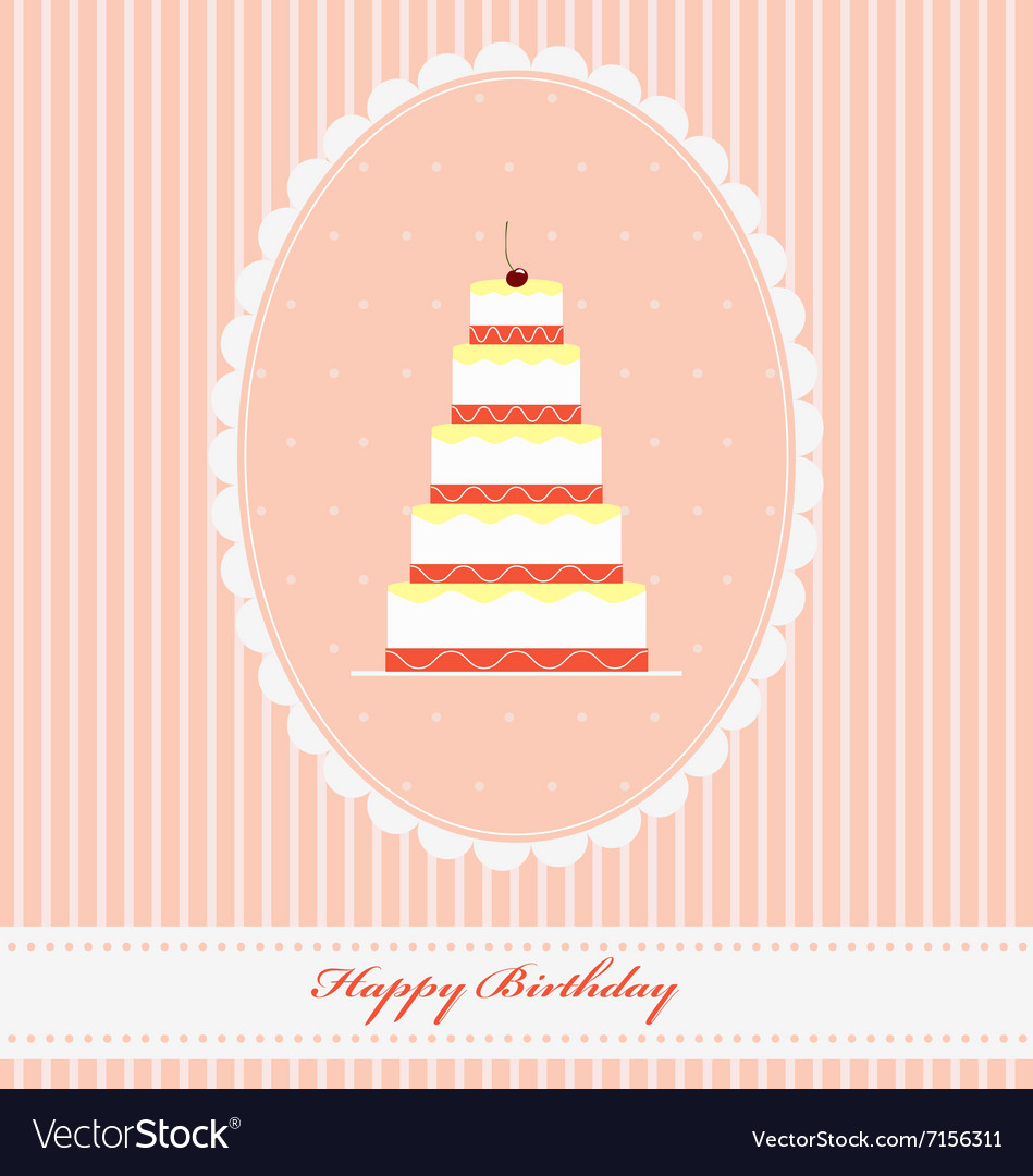Vintage Birthday greeting card with funny cupcake