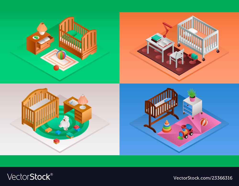 Baby crib banner set isometric style