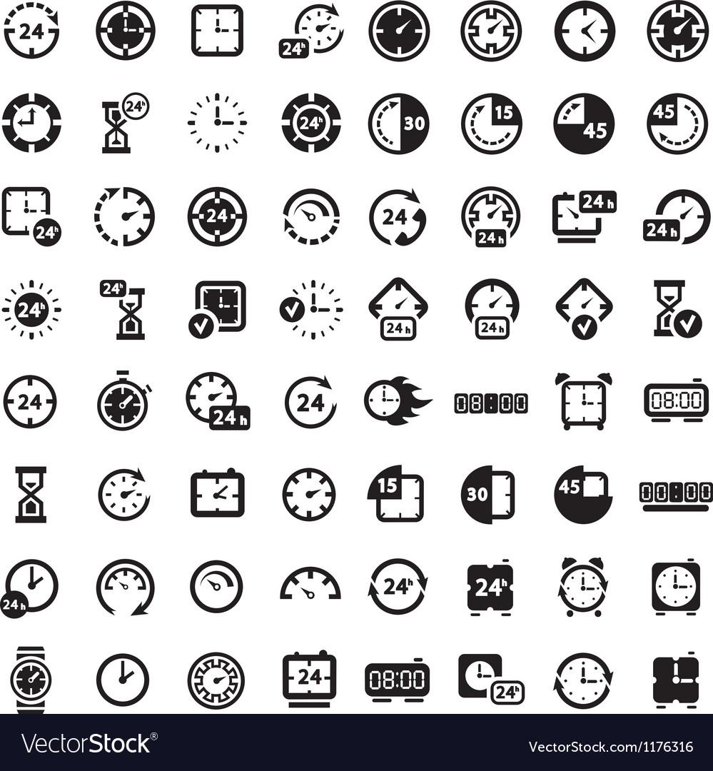 Big black clock icons set vector image