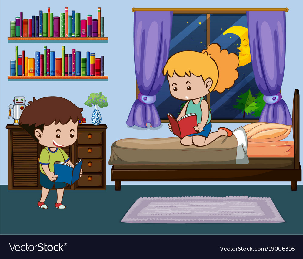 Boy And Reading Book In Bedroom Vector Image