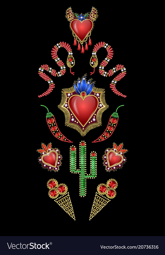 Design t-shirt withmexican hearts with fire
