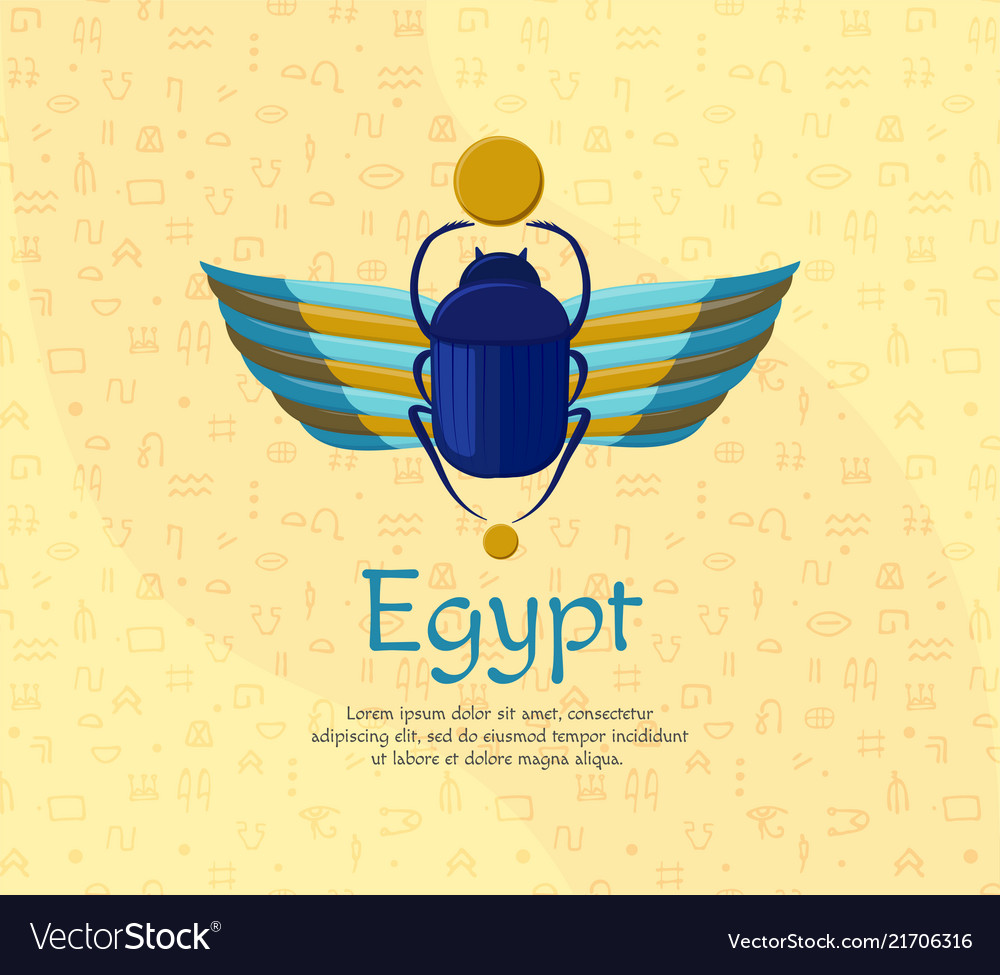 Egyptian Bug Beetle With Wings Symbolism Of Vector Image