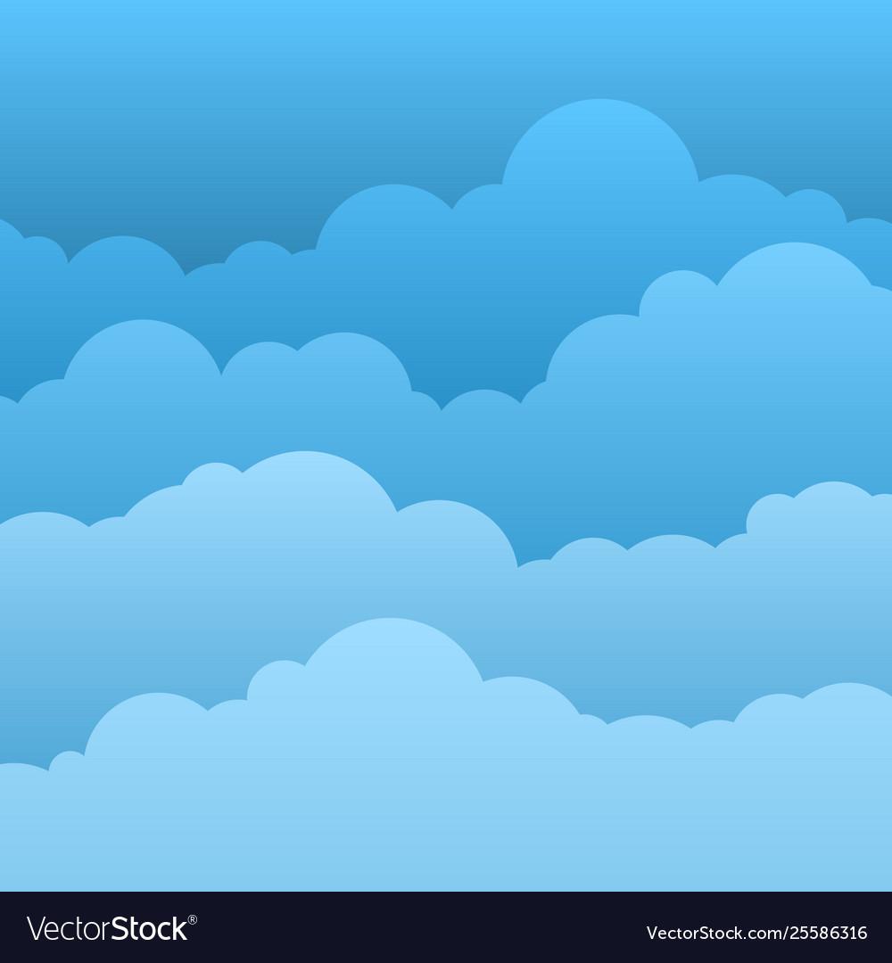 Flat clouds blue sky with paper cartoon clouds