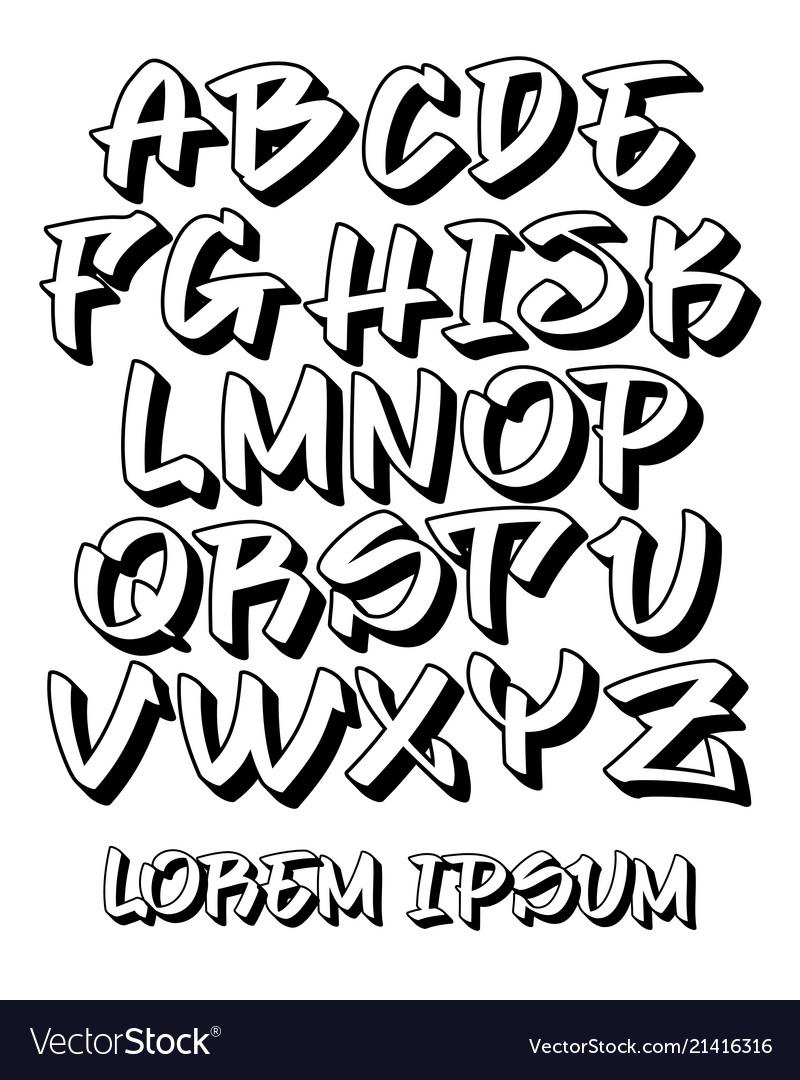 Graffiti font 3d - hand written - alphabet