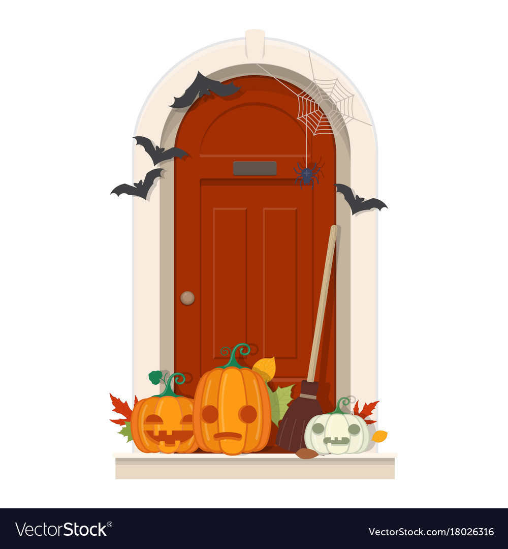 Halloween Door Decorations Front Door With Vector Image