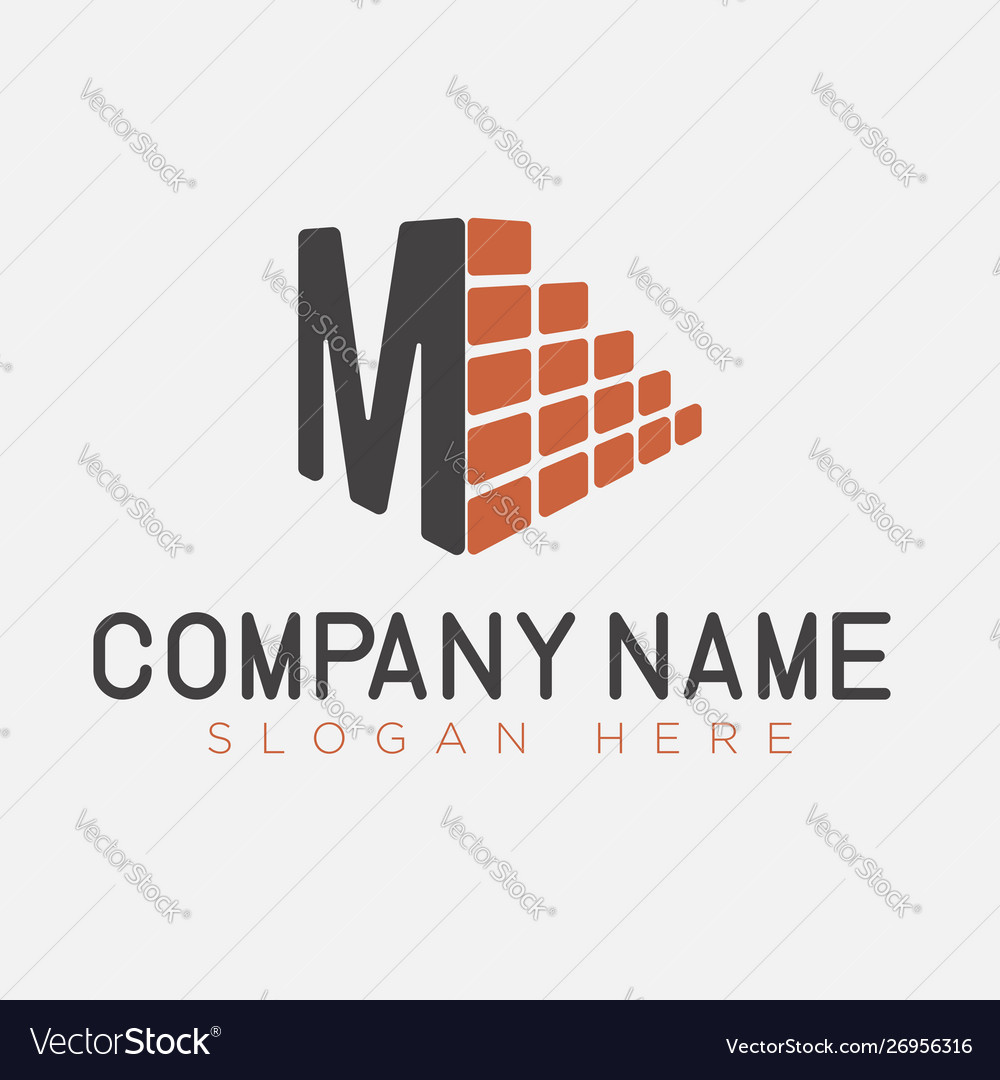 Letter m and brick construction logo template