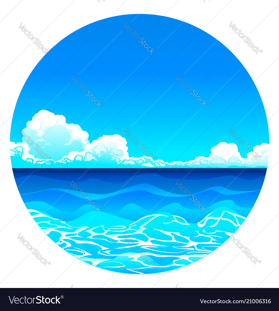 Sea background in circle