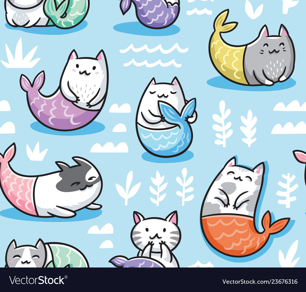 Seamless pattern with cats mermaid in kawaii style