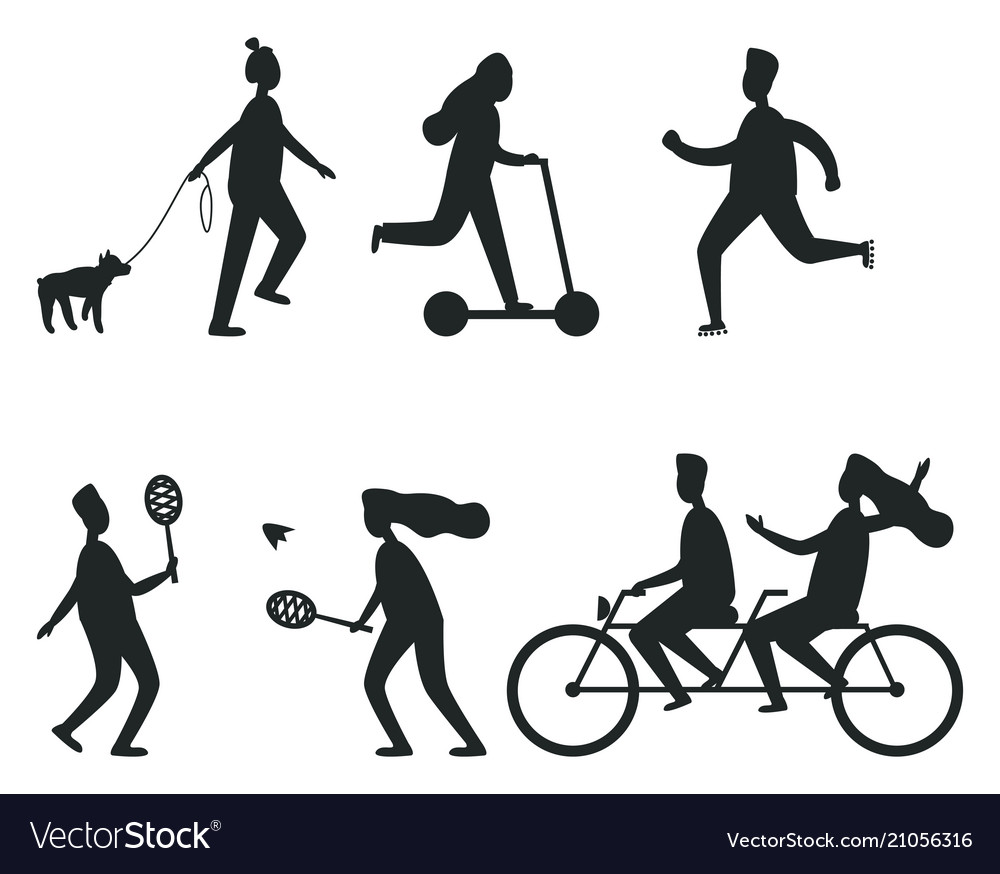 Set of black silhouettes of people having fun