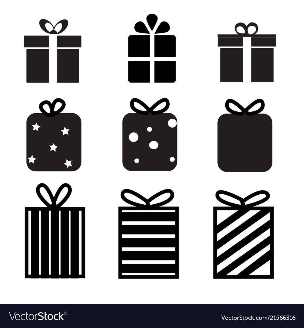 Set Of Gift Box Icon On White Background Gift Box Vector Image
