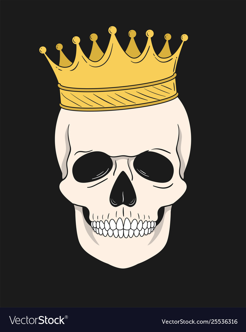 Skull with gold crown for t-shirt and other uses