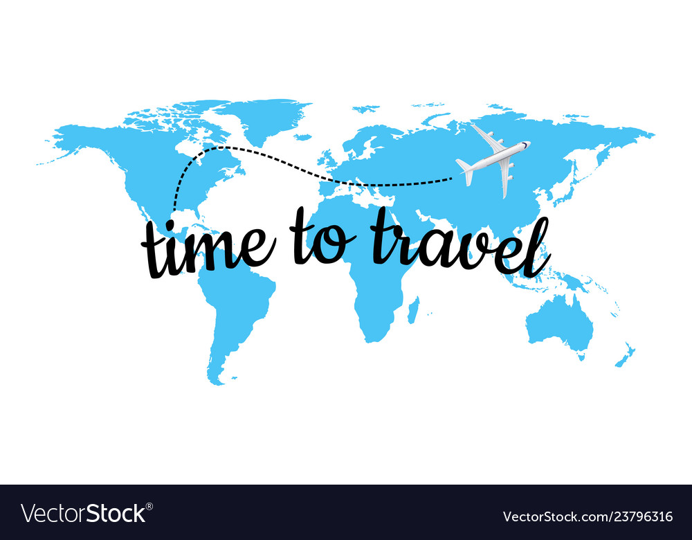Time to travel on blue world map