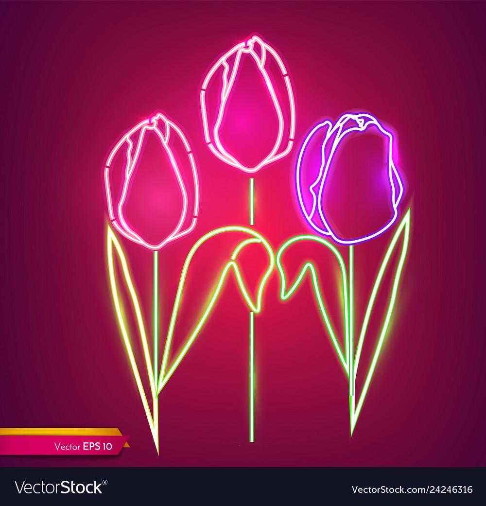 Tulip flowers neon light vintage board