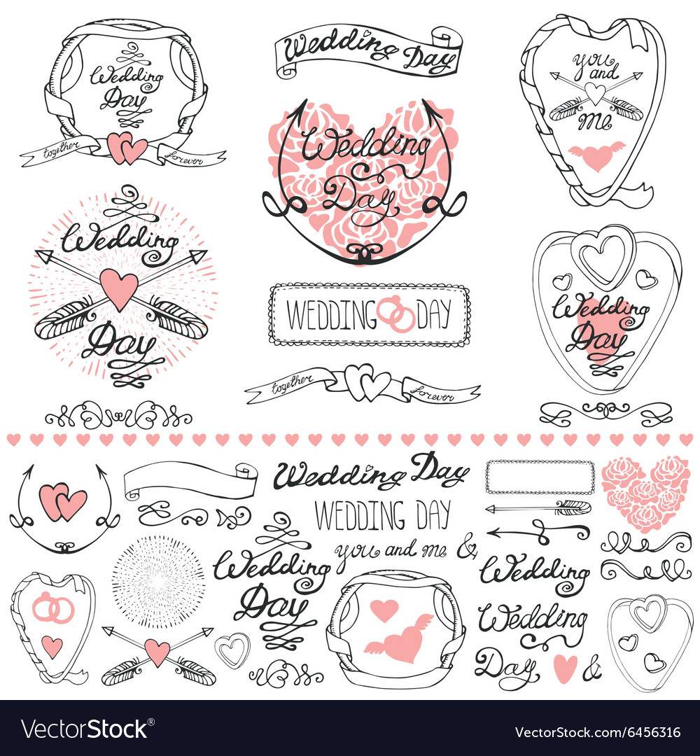 Wedding decor elements setLabelscards