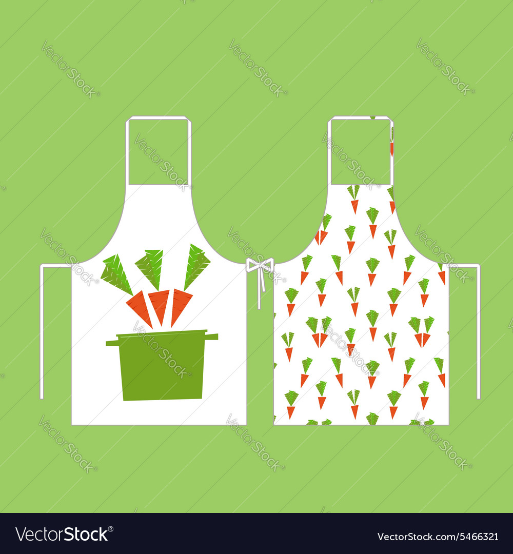 Aprons in the pattern of carrots with a pan
