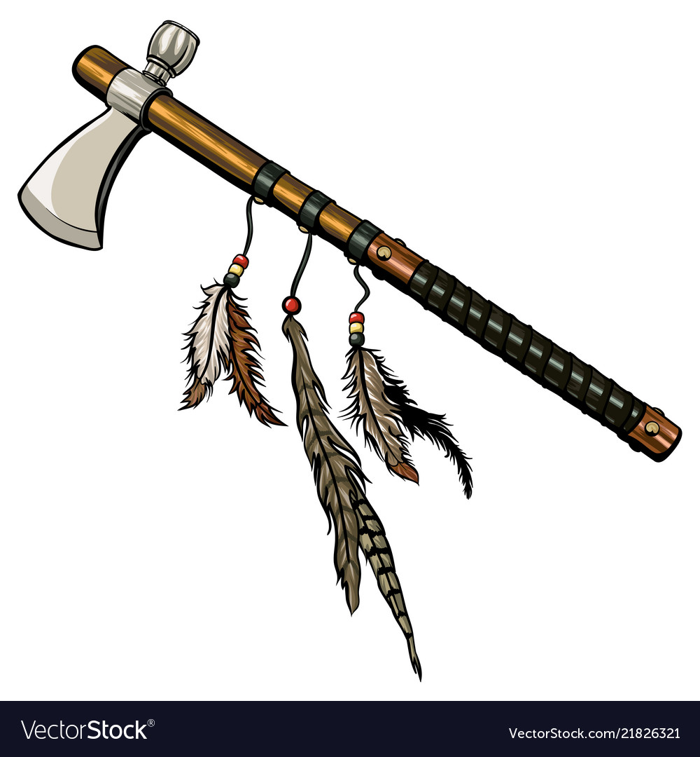 Axe peace pipe with feather vector image