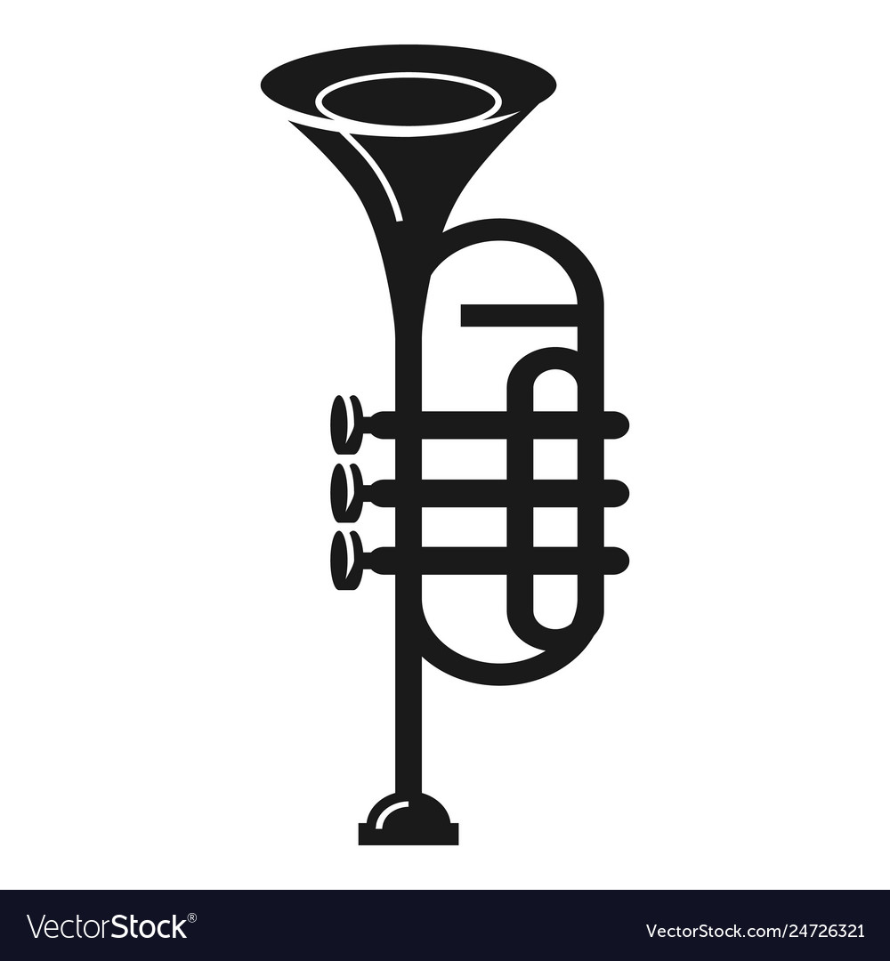 Band trumpet icon simple style