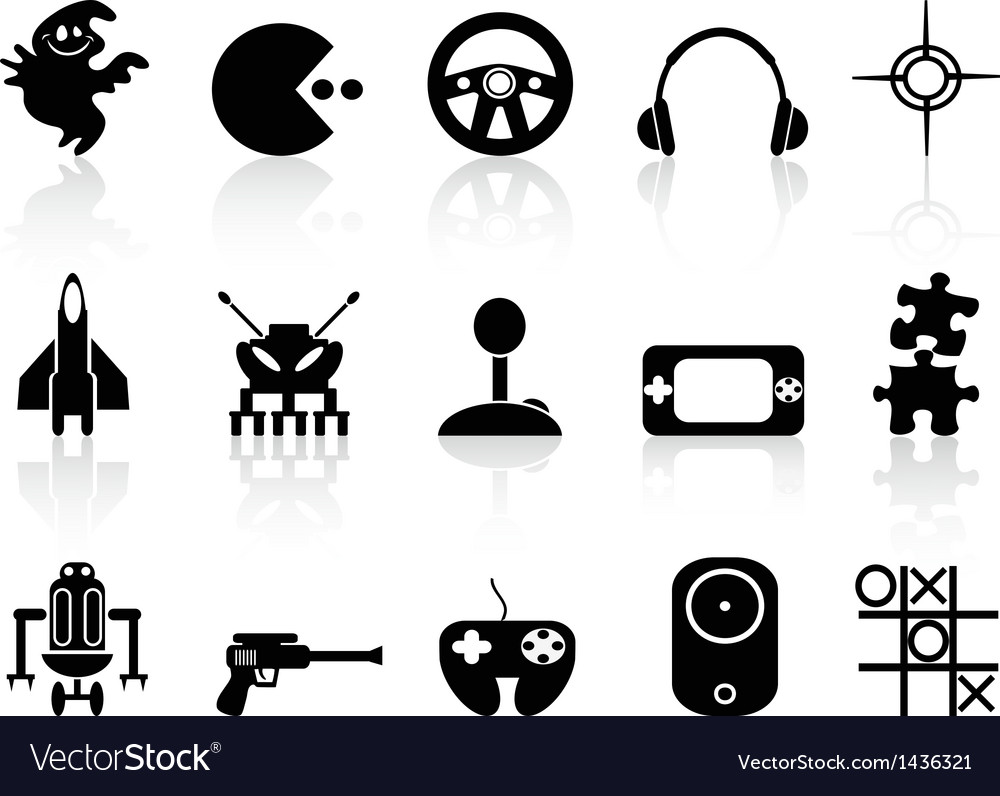 Black computer game icon vector image