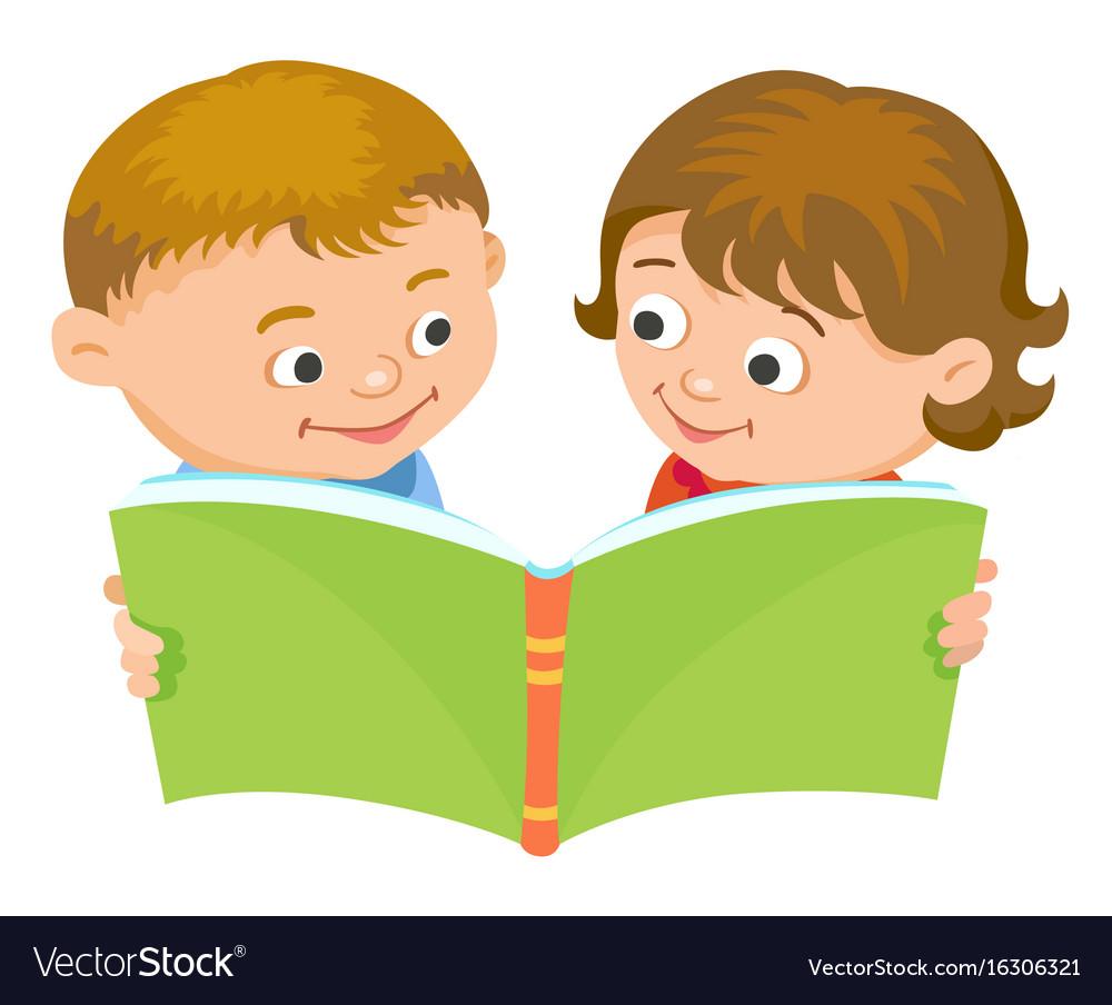 Cartoon kids reading book Royalty Free Vector Image