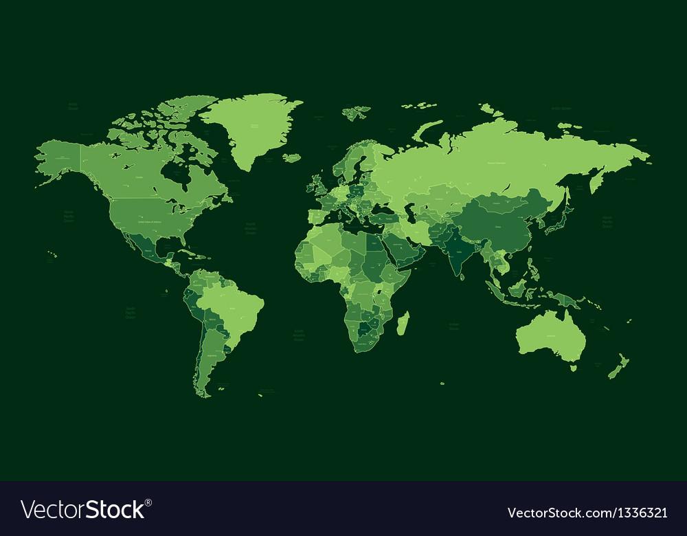 Dark green detailed World map