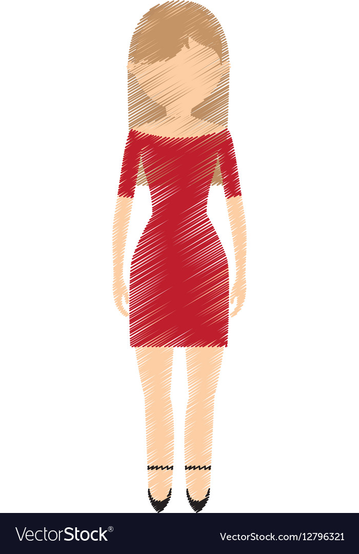 drawing avatar woman red dress and high heel shoes