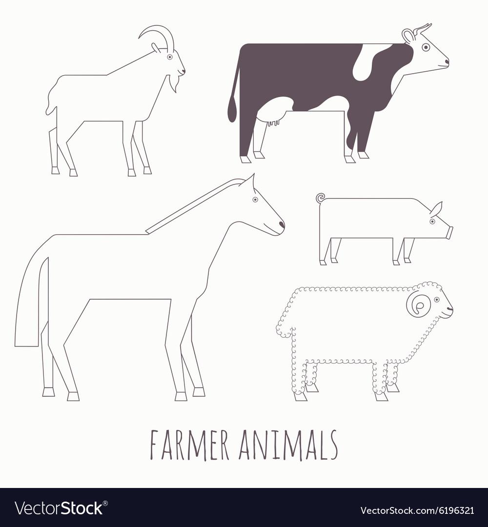 Farmer flat animals vector image