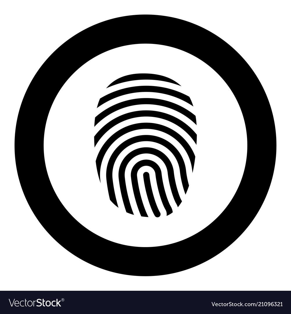 Fingerprint icon black color in circle round