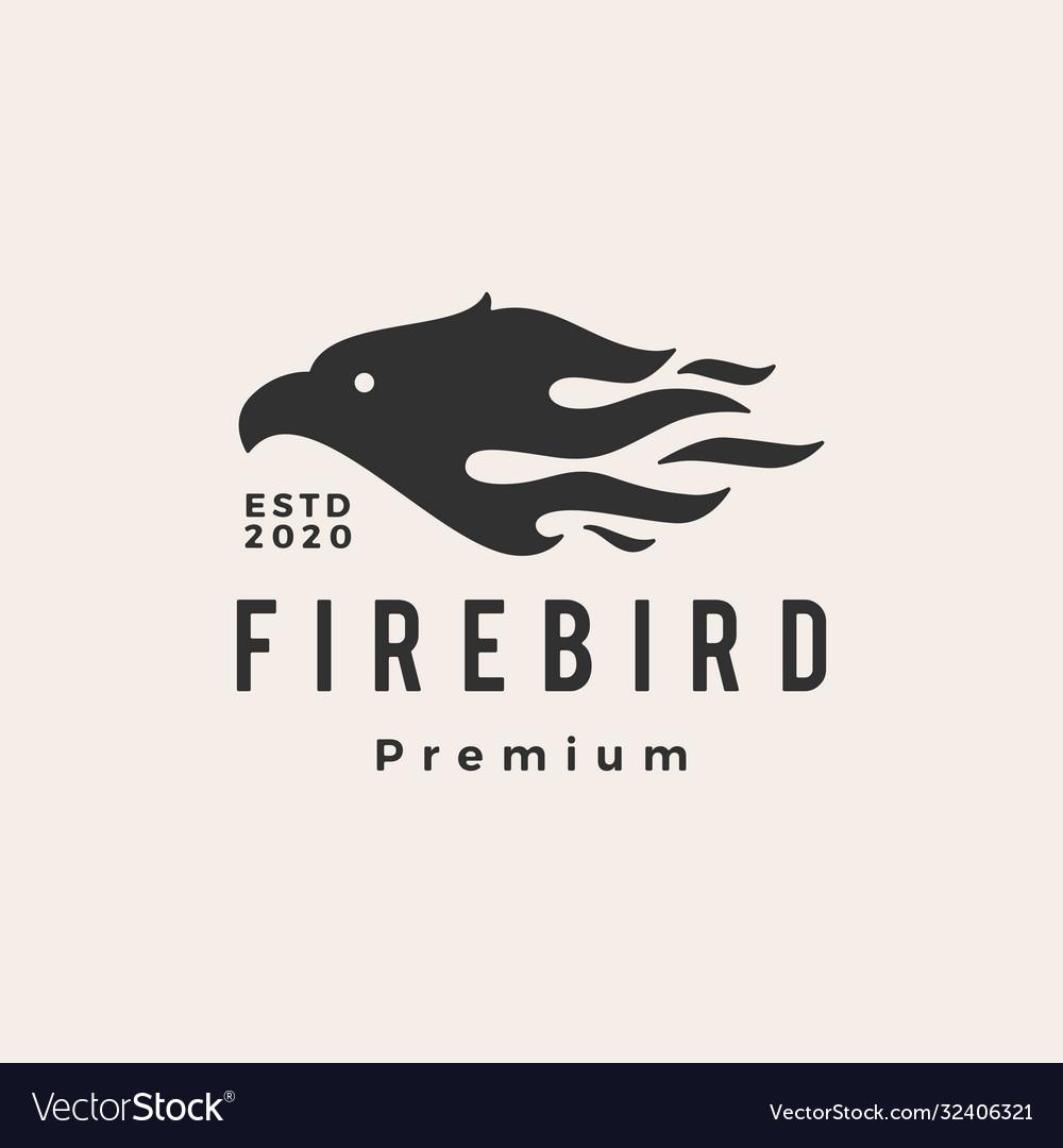 Fire bird hipster vintage logo icon