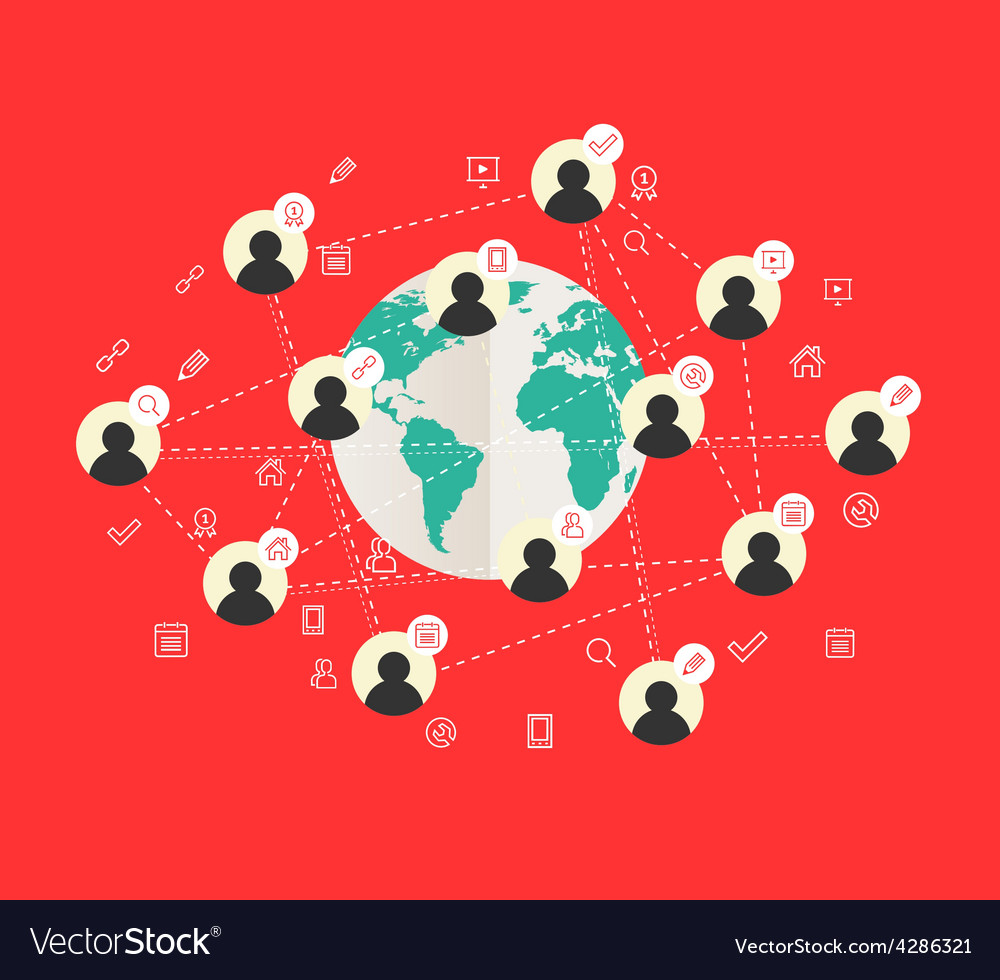 Flat design concept with world map and social vector image gumiabroncs Gallery