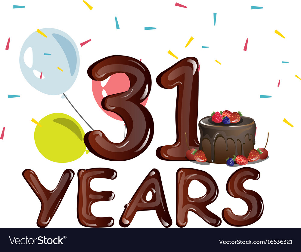 happy birthday thirty one 31 year royalty free vector image