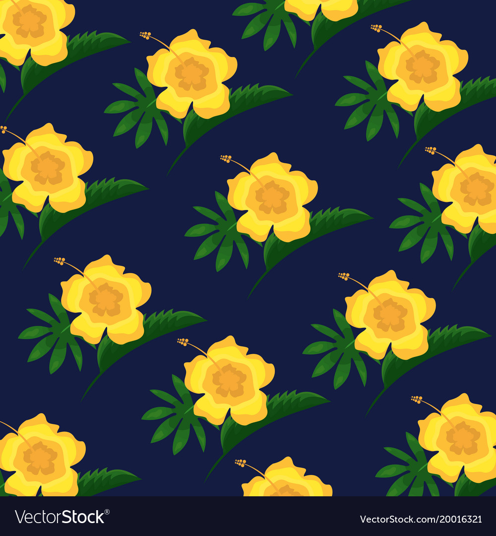 Hibiscus flower tropical leaves decoration