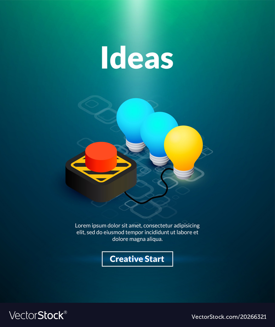 Ideas poster of isometric color design Royalty Free Vector