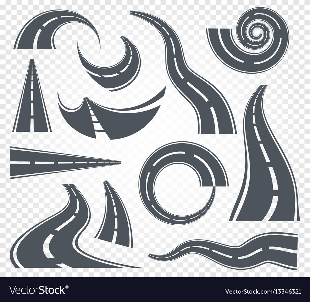 Isolated grey color road or highway with dividing
