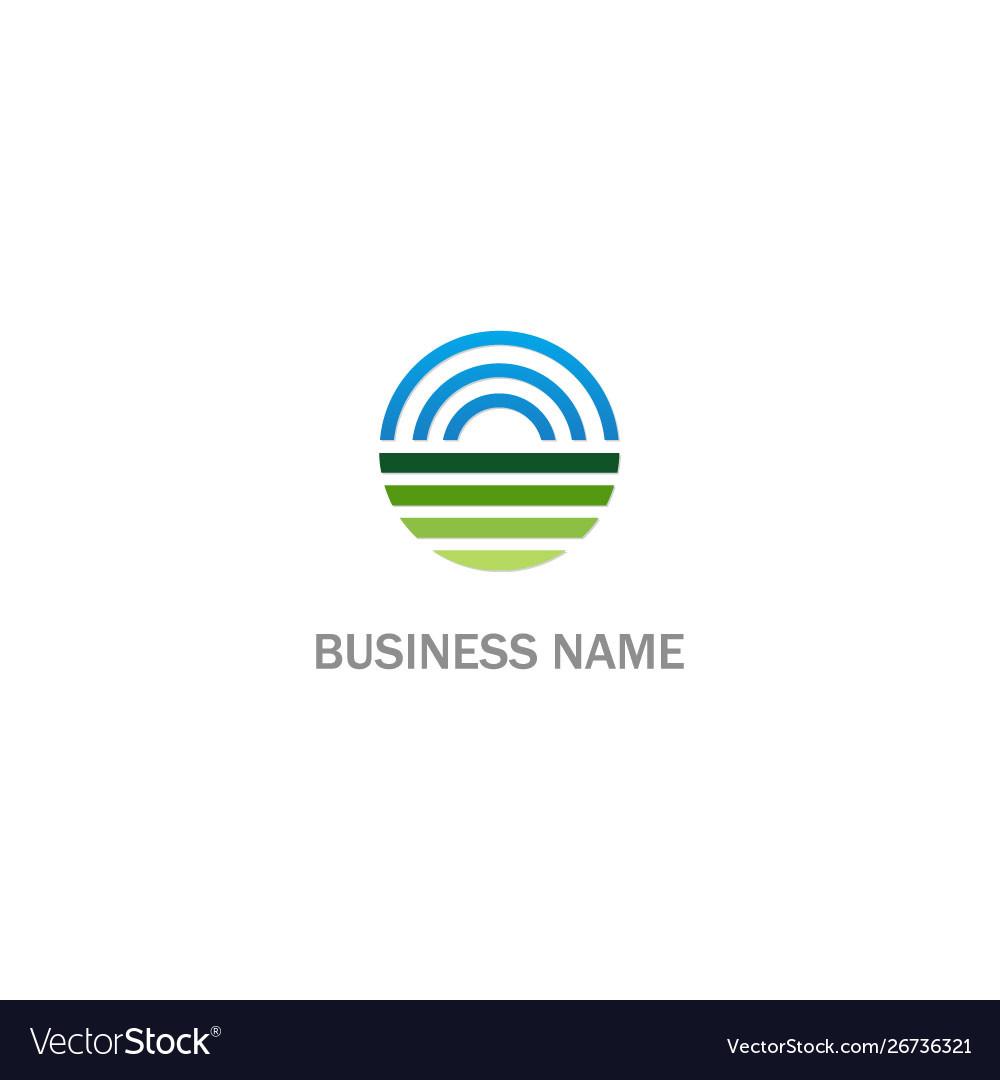 Round earth horizon sign logo