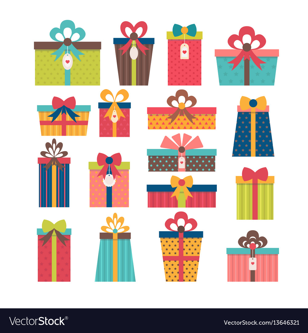 Set of different gift boxes flat design colorful vector image