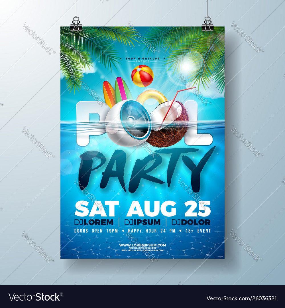 Summer pool party poster design template with palm
