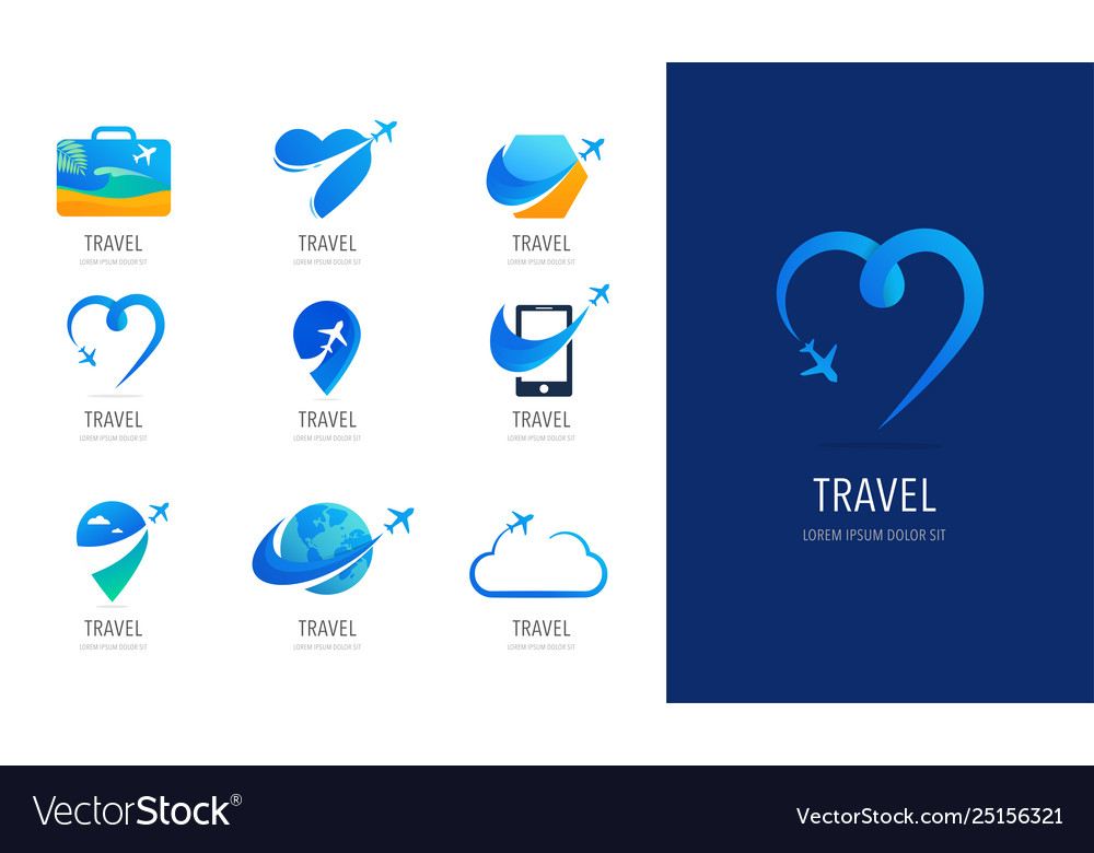 Travel tourism agency logo design icons and
