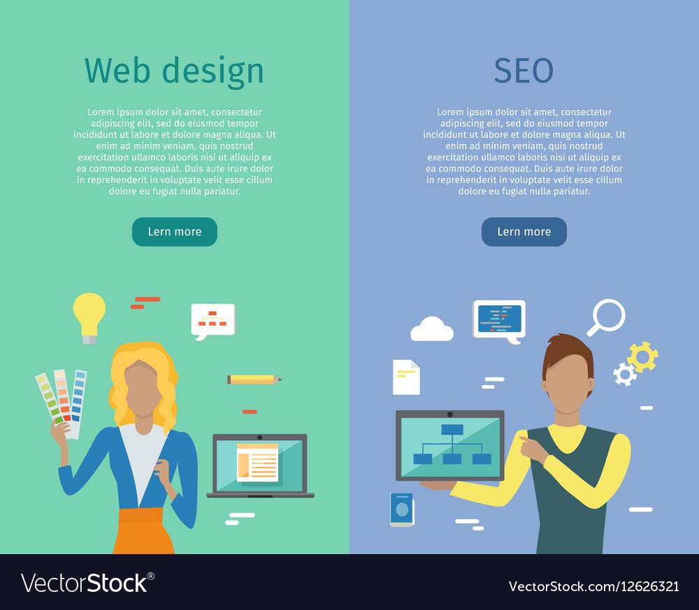Web Design SEO Infographic Set vector image