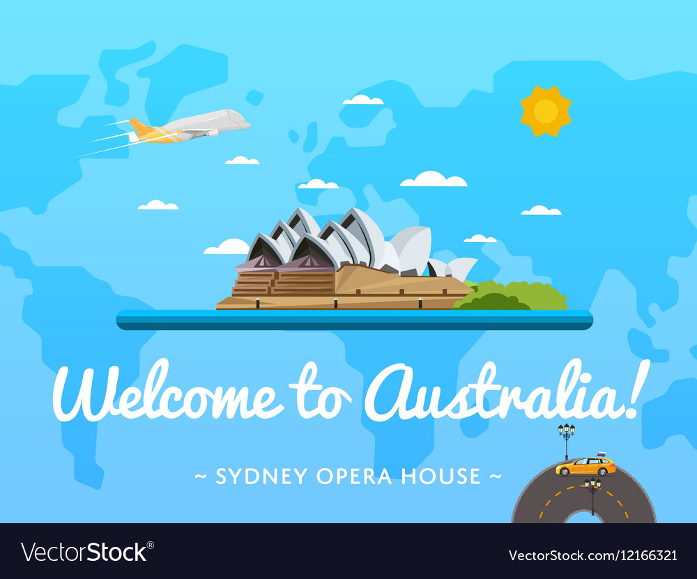 Welcome to Australia poster with famous attraction