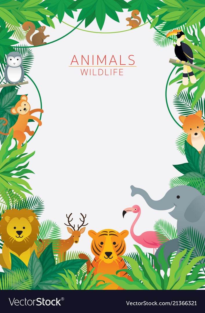 Wild animals in jungle frame Royalty Free Vector Image